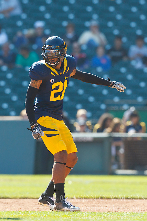 September 17, 2011; San Francisco, CA, USA;  California Golden Bears wide receiver Keenan Allen (21) lines up for a play against the Presbyterian Blue Hose during the second quarter at AT&T Park.  California defeated Presbyterian 63-12.