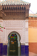 MARRAKESH, MOROCCO - 19TH APRIL 2016 - Doorway to the Zaouia / zawiya burial tomb shrine site of Sidi Abdel Aziz, Marrakesh, Morocco.