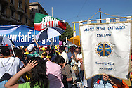Rome 12 May 2007.People demonstraes during the 'Day of the Family' protest against a government plan to grant homosexual couples legal status, in front of the Basilica of Saint John Lateran in Rome..The flag Forza Italia party