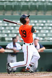 July 17, 2018 - Sarasota, FL, U.S. - Sarasota, FL - JUL 17: Andrew Fregia (19) of the Orioles at bat during the Gulf Coast League (GCL) game between the GCL Twins and the GCL Orioles on July 17, 2018, at Ed Smith Stadium in Sarasota, FL. (Photo by Cliff Welch/Icon Sportswire) (Credit Image: © Cliff Welch/Icon SMI via ZUMA Press)