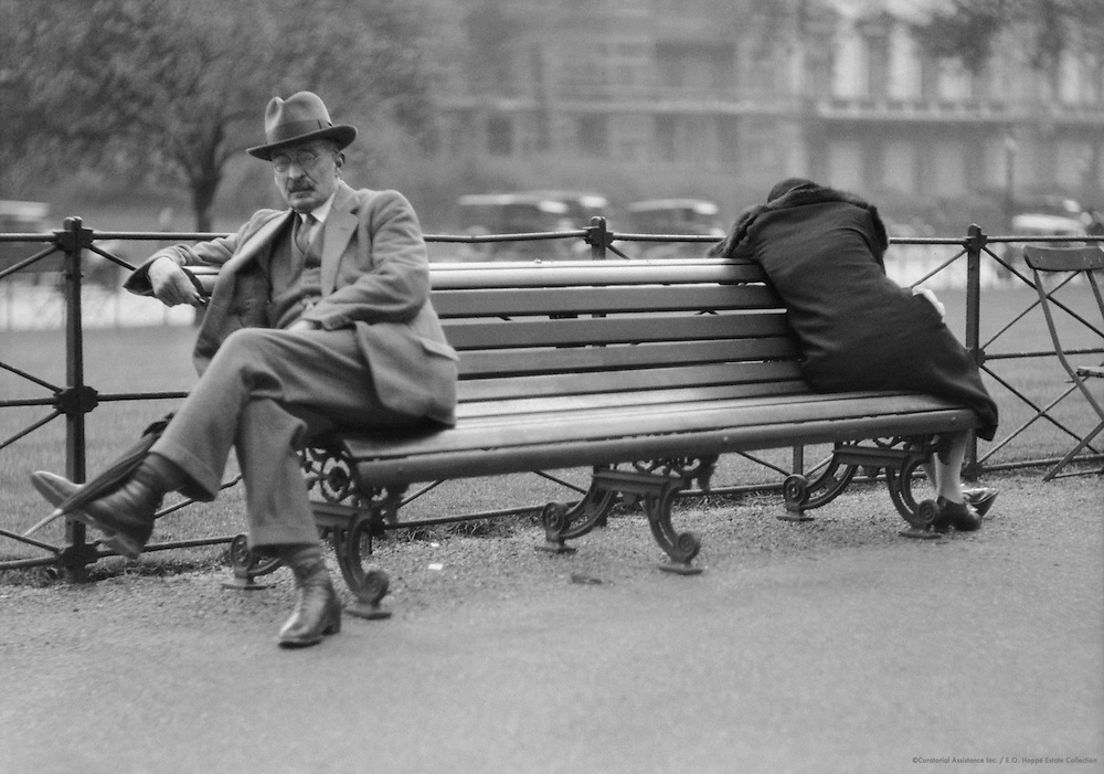 Hyde Park Types Sitting on a Bench, London, 1929