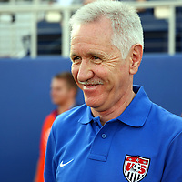 U.S. head coach Tom Sermanni on the bench during an international friendly soccer match between the United States Women's National soccer team and the Russia National soccer team at FAU Stadium on Saturday, February 8, in Boca Raton, Florida. The U.S. won the match by a score of 7-0. (AP Photo/Alex Menendez)