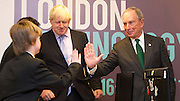 Boris Johnson and Michael R. Bloomberg kick off London Technology week<br /> at <br /> Central Working Shoreditch, 6-8 Bonhill St, London EC2A 4BX<br /> <br /> Mayor of London & leaders of global tech scene come together to launch London Technology Week, in London, Great Britain <br /> 16th June 2014 <br /> <br /> Boris Johnson <br /> Mayor of London<br /> <br /> Michael R. Bloomberg <br /> ex-New York Mayor <br /> <br /> <br /> Children from Holloway Secondary School <br /> Hilldrop Road, London N7 0JG<br /> <br /> Mohammed Abdinoor<br /> Ryan Sullivan <br /> Aleyna Ekinci<br /> Kelsey Ward <br /> <br /> who were demonstrating how to put together a KANO - a computer anyone, anywhere, can make. <br /> www.kano.me