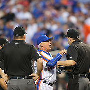 NEW YORK, NEW YORK - May 28:  Manager Terry Collins #10 of the New York Mets argues with umpire Adam Hamari who tossed Noah Syndergaard #34 of the New York Mets out of the game for throwing at Chase Utley #26 of the Los Angeles Dodgers during the Los Angeles Dodgers Vs New York Mets regular season MLB game at Citi Field on May 28, 2016 in New York City. (Photo by Tim Clayton/Corbis via Getty Images)