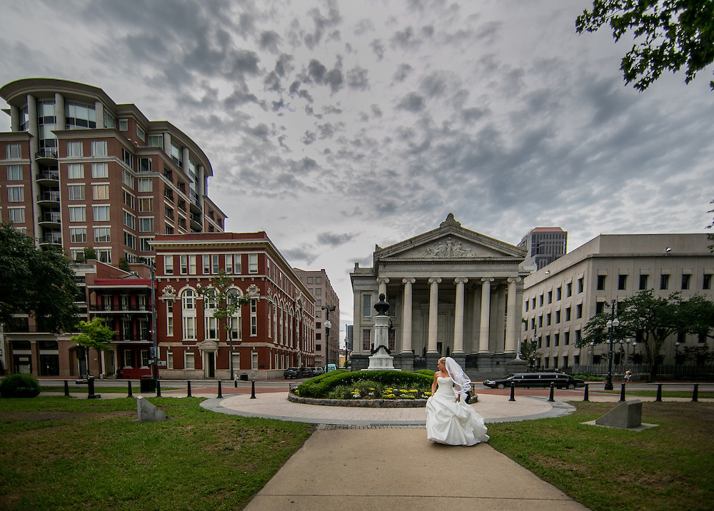 This is a bride on her wedding day in front of Gallier Hall in New Orleans. ©Kathy Anderson, All Rights Reserved