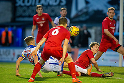 Brora Rangers Colin Williamson gives away a penalty. half time : Morton 1 v 1 Brora Rangers, 3rd Round of the Scottish Cup played 23/11/2019 at Cappielow, Greenock.
