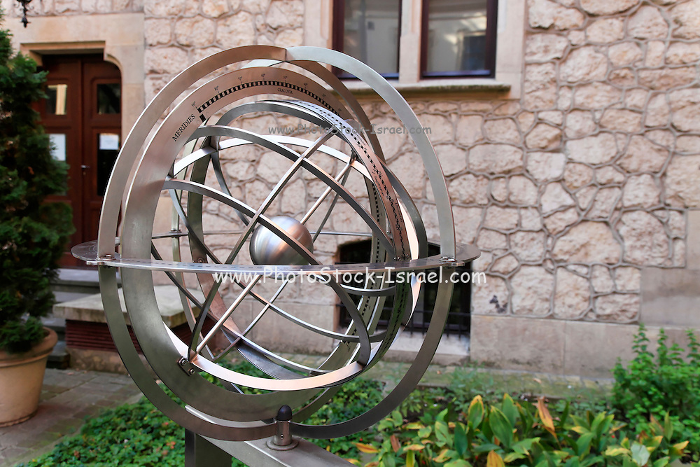 Armillary sphere in the Professors Garden at the Jagiellonian University of Krakow, Poland.