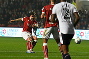 Marlon Pack (21) of Bristol City shoots at goal during the EFL Sky Bet Championship match between Bristol City and Bolton Wanderers at Ashton Gate, Bristol, England on 26 September 2017. Photo by Graham Hunt.