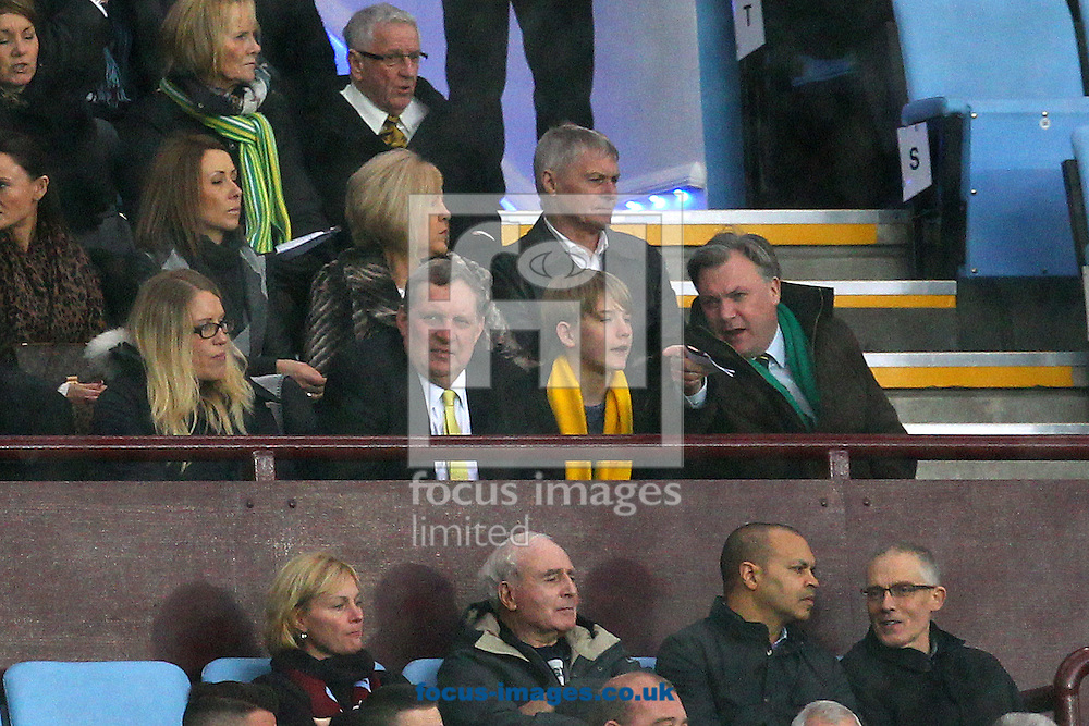 Norwich Chariman Ed Balls during the Barclays Premier League match at Villa Park, Birmingham<br /> Picture by Paul Chesterton/Focus Images Ltd +44 7904 640267<br /> 06/02/2016