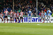 Bristol Rovers Lee Brown strikes home a free kick on the stroke of half time to put his team 2-0 ahead during the Sky Bet League 2 match between Bristol Rovers and Exeter City at the Memorial Stadium, Bristol, England on 23 April 2016. Photo by Shane Healey.