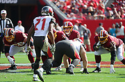 Nov 11, 2018; Tampa, FL USA: Washington Redskins quarterback Alex Smith (11) calls a play at the line of scrimmage against the Tampa Bay Buccaneers at Raymond James Stadium. The Redskins beat the Buccaneers 16-3. (Steve Jacobson/Image of Sport)