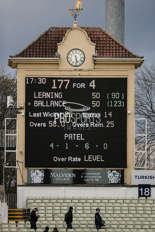 Scoreboard showing Yorkshire Jack Leaning and Yorkshire Gary Ballance on unbeaten 50's during the Specsavers County Champ Div 1 match between Warwickshire County Cricket Club and Yorkshire County Cricket Club at Edgbaston, Birmingham, United Kingdom on 24 April 2016. Photo by Simon Davies.