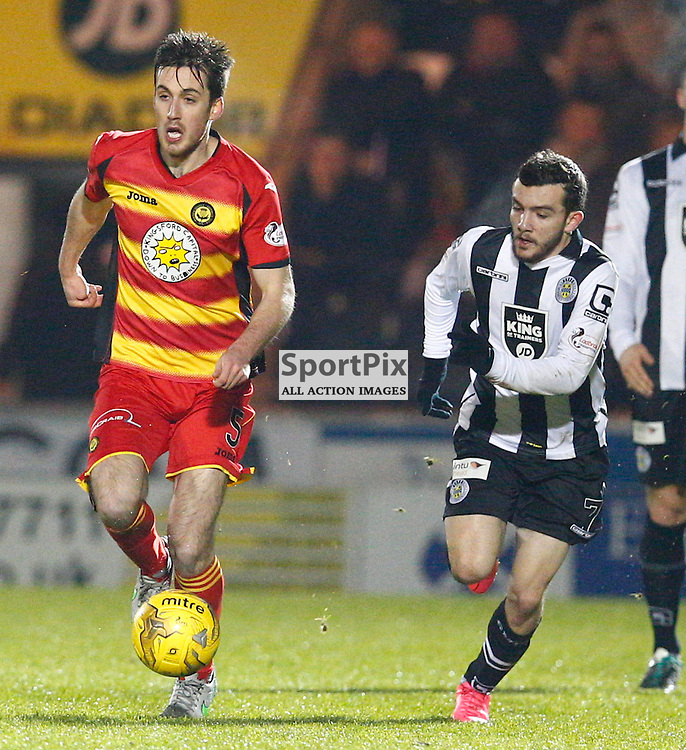 St.Mirren v Partick Thistle, Scottish Cup 4th round.....Callum Booth and Paul McMullan battle for the ball....(c) STEPHEN LAWSON | SportPix.org.uk