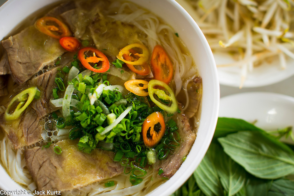 28 MARCH 2012 - HO CHI MINH CITY, VIETNAM:  Beef pho in a restaurant in Ho Chi Minh City, (Saigon), Vietnam. Pho, a noodle soup made with beef broth, is the national dish of Vietnam.    PHOTO BY JACK KURTZ