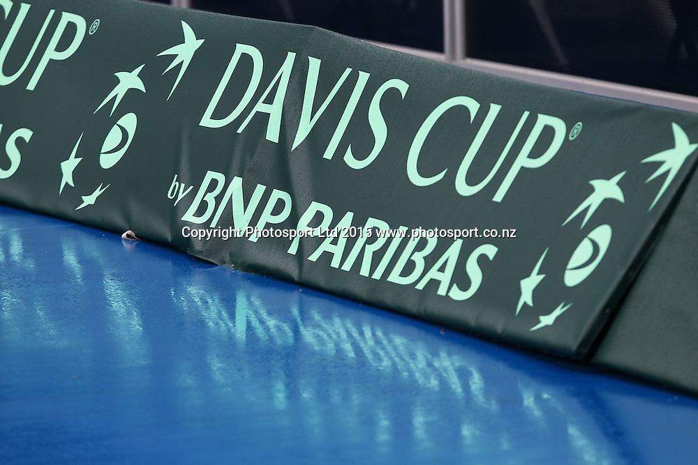 Rain delays play, BNP Paribas Davis Cup Tie, New Zealand v China Singles, Jose Statham v Di Wu, ASB Tennis centre, Auckland. 6 March 2015. Photo: William Booth / www.photosport.co.nz