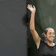 March 7, 2015, Indian Wells, California:<br /> Madison Keys is introduced during the McEnroe Challenge for Charity presented by Masimo in Stadium 2 at the Indian Wells Tennis Garden in Indian Wells, California Saturday, March 7, 2015.<br /> (Photo by Billie Weiss/BNP Paribas Open)
