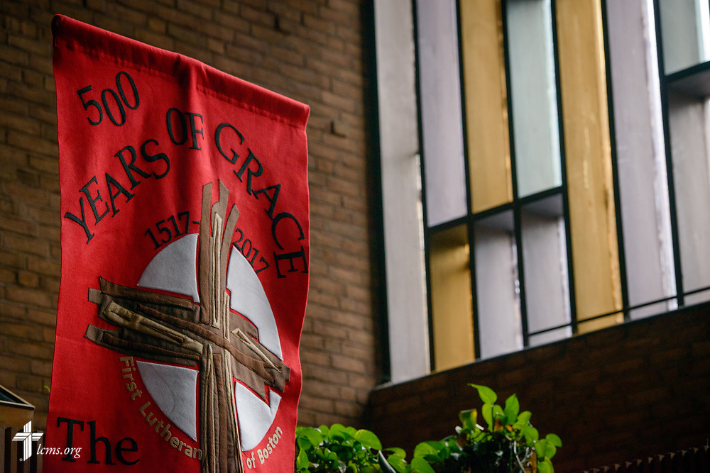 A banner celebrating the 500th anniversary of the Lutheran Reformation at First Lutheran Church, Boston, on Wednesday, Oct. 25, 2017, in Boston. LCMS Communications/Erik M. Lunsford