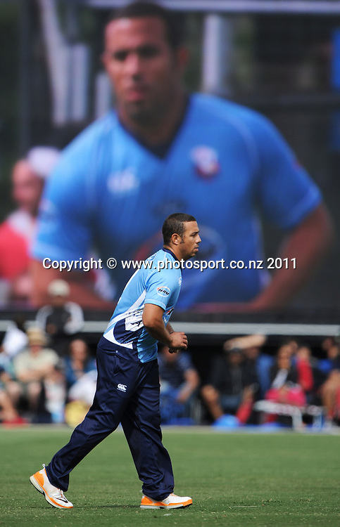 Andre Adams bowling during the HRV Twenty20 Cricket Final between the Auckland Aces and Canterbury Wizards at Colin Maiden Oval in Auckland, New Zealand on Sunday 22 January 2012. Photo: Andrew Cornaga/Photosport.co.nz