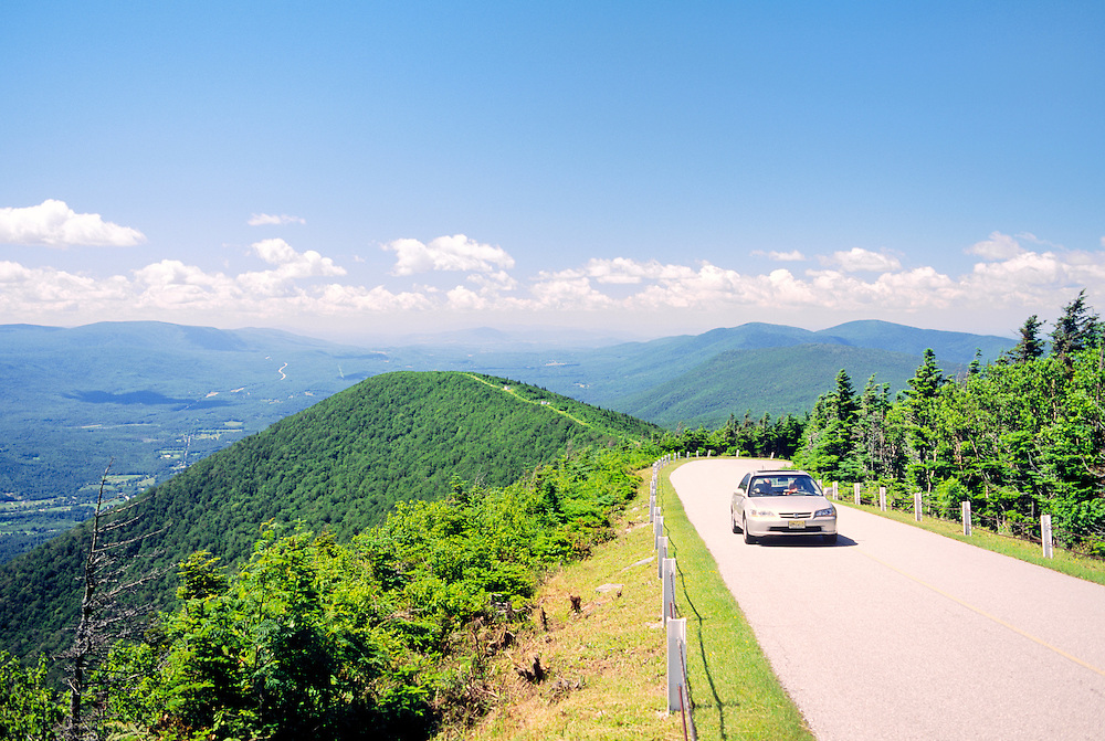 Car on panoramic Mount Equinox Skyline Drive, highest peak in Taconic Range. Near Manchester, Bennington County, Vermont, USA