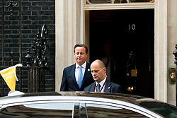 © Licensed to London News Pictures. 03/09/2012. LONDON, UK. The British Prime Minister, David Cameron, is seen leaving Downing Street after an economics meeting at Number 10 today (03/09/12). Photo credit: Matt Cetti-Roberts/LNP