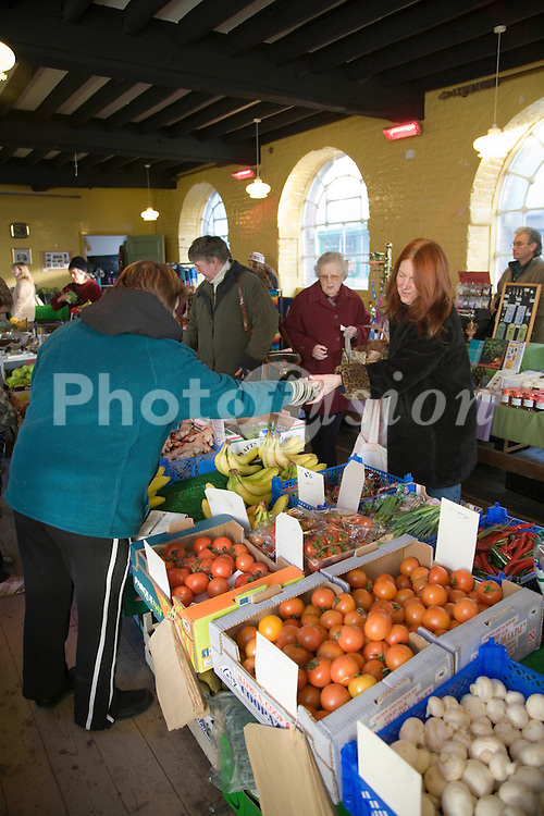 Fruit and vegetable market at Bishops Castle; Shropshire,