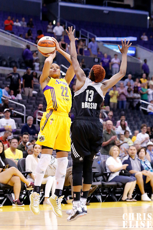 22 June 2014: guard/forward Armintie Herrington (22) of the Los Angeles Sparks takes a jumpshot over guard Danielle Robinson (13) of the San Antonio Stars during the San Antonio Stars 72-69 victory over the Los Angeles Sparks, at the Staples Center, Los Angeles, California, USA.