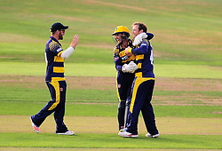 Colin Ingram and Mark Wallace celebrate the wicket of Lewis Gregory.  - Mandatory by-line: Alex Davidson/JMP - 22/07/2016 - CRICKET - Th SSE Swalec Stadium - Cardiff, United Kingdom - Glamorgan v Somerset - NatWest T20 Blast