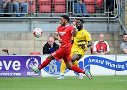 Jeffrey Monakana of Bristol Rovers is challenged by Frazer Shaw of Leyton Orient - Mandatory byline: Neil Brookman/JMP - 07966386802 - 29/08/2015 - FOOTBALL - Matchroom Stadium -Leyton,England - Leyton Orient v Bristol Rovers - Sky Bet League Two