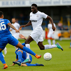 Dovers forward Inih Effiong tries to break through the Eastleigh defence during the National League match between Dover Athletic FC and Eastleigh FC at Crabble Stadium, Kent on 25 August 2018. Photo by Matt Bristow.