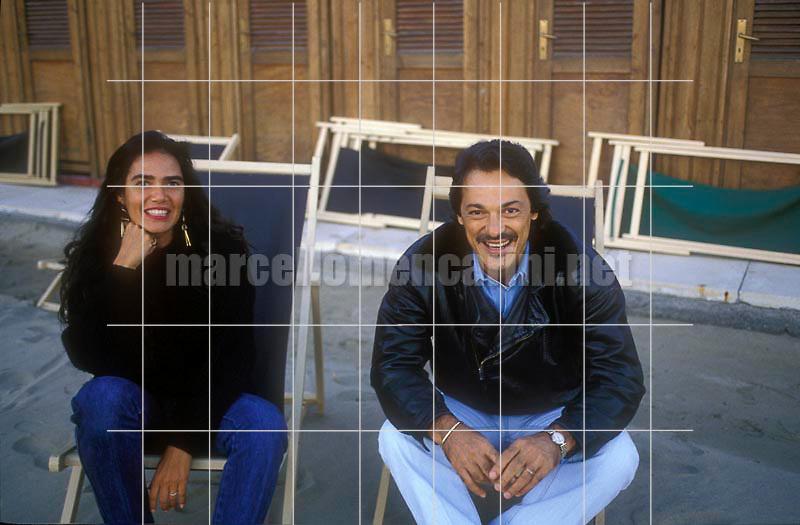 Sanremo Music Festival 1990. Brazilian singer-songwriter Toquinho and his wife Monica / Festival di Sanremo 1990. Il cantautore brasiliano Toquinho e sua moglie Monica - © Marcello Mencarini