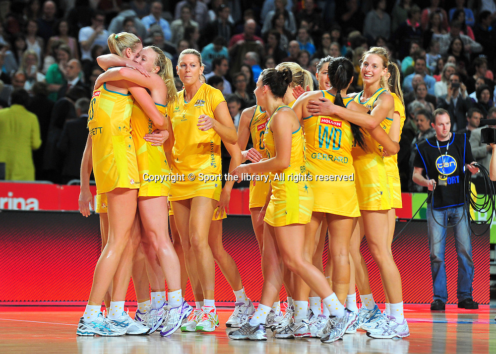 NZ congratulates Australia on series win<br /> 2011 Holden Netball Test Series<br /> Australia vs New Zealand <br />  Sunday 30 October 2011<br /> Hisense Arena/ Melbourne Australia <br /> &copy; Sport the library / Jeff Crow