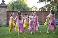 Old Westbury, New York, U.S. - June 21, 2014 - Old Westbury, New York, U.S. - June 21, 2014 - Lori Belilove & The Isadora Duncan Dance Company perform modern dance throughout the gardens during the Midsummer Night event at the Long Island Gold Coast estate of Old Westbury Gardens on the first day of summer, the summer solstice.