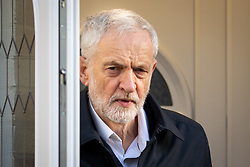 © Licensed to London News Pictures. 14/01/2019. London, UK. Leader of the Labour Party Jeremy Corbyn leaves his home in north London this morning. Tomorrow, MPs are due to vote on British Prime Minister Theresa May's EU withdrawal deal, after the previous vote in December was postponed. Yesterday Corbyn said he would try to trigger a general election if May's deal is rejected. Photo credit : Tom Nicholson/LNP
