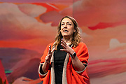 Host Kelly Stoetzel speaks  at TED2019: Bigger Than Us. April 15 - 19, 2019, Vancouver, BC, Canada. Photo: Bret Hartman / TED