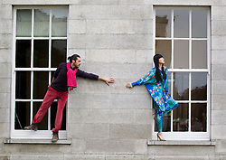 Repro Free: 20/01/2012.Pictured at the opening of Showcase 2013 are models Yomiko (wearing a Hummingbird printed Kimono by Jennifer Rothwell and butterfly necklace by Pluck and Devour) and Karl (wearing a heather knitted sweater and cords both by Magee and multicoloured knit Scarf by Edel MacBride) showcasing the best of fashion from leading Irish designers and homewear this week at Ireland's largest international trade fair. Showcase takes place at the RDS from Sunday 20th to Wednesday 23rd January. For more information visit www.showcase .com. Picture Andres Poveda