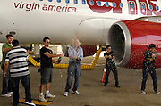 (L-R) Doug Ellin, Kevin Dillon, Sir Richard Branson, Kevin Connolly and Adrian Grenier celebrate as Virgin America launches JFK-Las Vegas Service with 'Entourage' Airbus A320 at JFK Airport in New York City in New York City, USA on September 4, 2008.