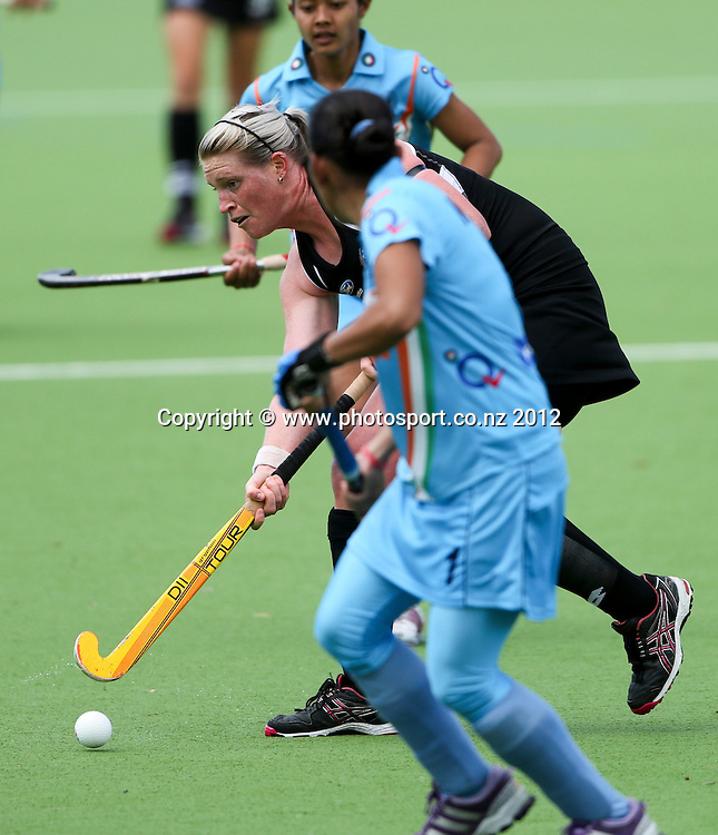 New Zealand's Katie Glynn  in the first womens hockey  test between the Black Sticks Women and India played at Park Island, Napier, New Zealand. Saturday, 08 December, 2012. Photo: John Cowpland / photosport.co.nz