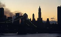 President Bush's chopper can be seen leaving the smoldering remains of powerless Lower Manhattan.