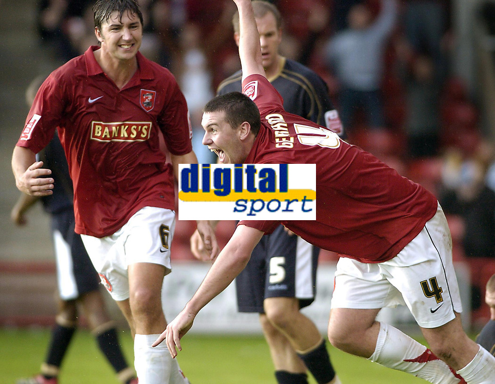 Photo: Dave Linney.<br />Walsall v Mansfield Town. Coca Cola League 2. 30/09/2006.Walsall goalscorer Anthony Gerrard celebrates after making it 4-0 to the Saddlers