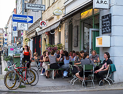 Exterior of APC Italian restaurant in fashionable Mitte district of Berlin, Germany