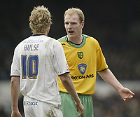 Photo: Aidan Ellis.<br /> Leeds United v Norwich City. Coca Cola Championship. 11/03/2006.<br /> Norwich's Gary Doherty argues with Leeds Rob Hulse