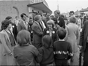 15/05/1982<br /> 05/15/1982<br /> 15 May 1982<br /> An Taoiseach, Mr Charles Haughey, canvasing with Fianna Fail bye-election candidate Eileen Lemass in Dublin West. Image shows An Taoiseach (centre) talking to Bobby Molloy whilec anvasing on Ballyfermot Road.  Meanwhile  Eileen Lemass talks with future voters in the foreground.