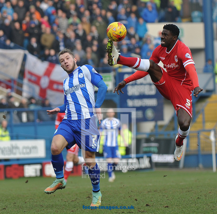 Bruno Ecuele Manga of Cardiff City cuts out a dangerous through ball for Stevie May during the Sky Bet Championship match at Hillsborough, Sheffield<br /> Picture by Richard Land/Focus Images Ltd +44 7713 507003<br /> 07/02/2015