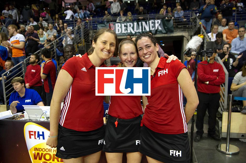 BERLIN - Indoor Hockey World Cup<br /> Semi-final 2: Australia - Austria<br /> foto: UmpireMEISTER Michelle (GER)<br /> UmpireFAIAS Ana (POR)<br /> Reserve UmpireCARROLL Emily (AUS).<br /> WORLDSPORTPICS COPYRIGHT FRANK UIJLENBROEK