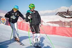 26.01.2013, Streif, Kitzbuehel, AUT, FIS Weltcup Ski Alpin, Abfahrt, Herren, Streckenbesichtigung, im Bild Christof Innerhofer (ITA) und Klaus Kroell (AUT) // Christof Innerhofer of Italy and Klaus Kroell of Austria at the Course inspection during mens Downhill of the FIS Ski Alpine World Cup at the Streif course, Kitzbuehel, Austria on 2013/01/26. EXPA Pictures © 2013, PhotoCredit: EXPA/ Johann Groder