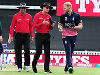 Cricket - 2017 ICC Champions Trophy - Group A: England vs. Bangladesh<br /> <br /> Ben Stokes of England has words with the umpires after exchanging words with Tamim Iqbal of Bangladesh at The Kia Oval.<br /> <br /> COLORSPORT/ANDREW COWIE