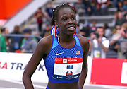 Athing Mu celebrates after setting a new American Record time of 1:23.77 in the Michelob Lite Ultra 600m during the USA Indoor Track and Field Championships in Staten Island, NY, Sunday, Feb 24,2019. (Rich Graessle/Image of Sport)