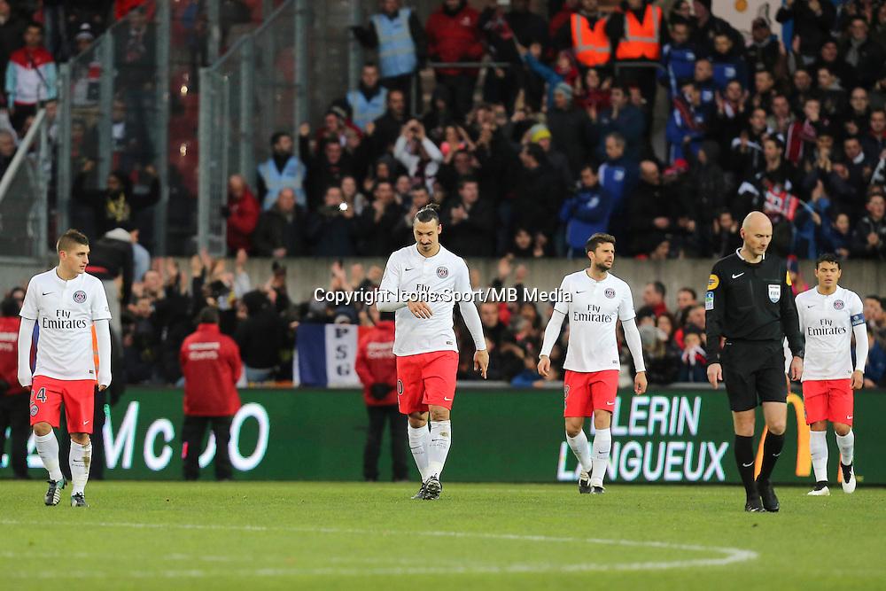 Deception PSG - Zlatan Ibrahimovic - 14.12.2014 - Guingamp / Paris Saint Germain - 18eme journee de Ligue 1<br />Photo : Vincent Michel / Icon Sport