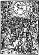 The Revelation of S. John (Apocalypse) The Adoration of the Lamb and the Hymn of the Chosen Woodcut by Albrecht Durer c1498.