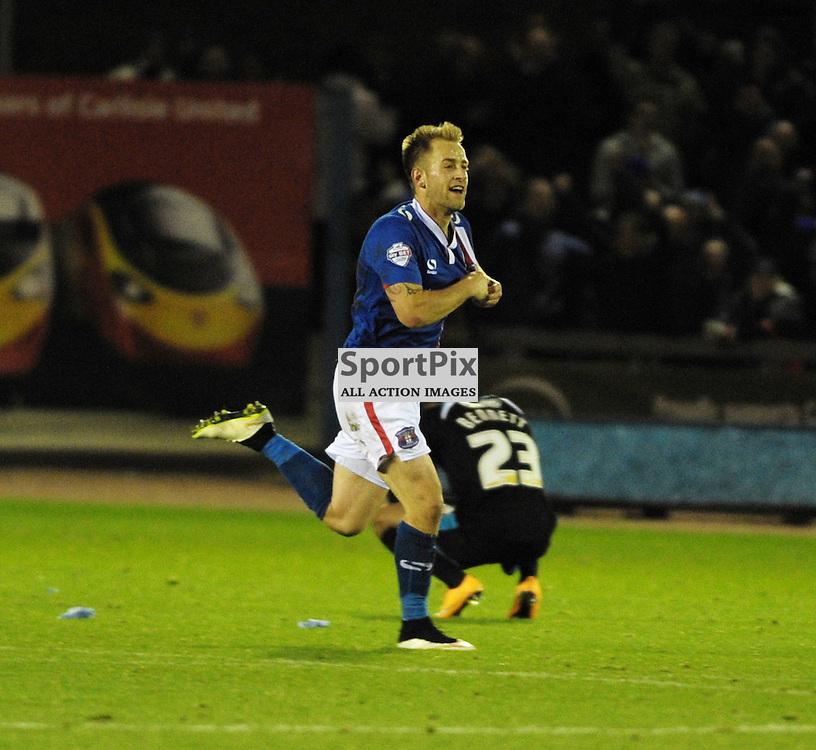 Danny Grainger (Carlisle, blue, 3) scores a late equaliser to make it 2-2<br /> <br /> Carlisle United v Portsmouth, SKY BET LEAGUE 2, 21st November 2015<br /> <br /> (c) Alex Todd | SportPix.org.uk